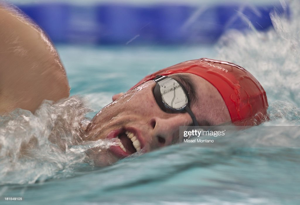 Carlos Jimenez of Peru competes during the men's 800 meter freestyle as part of the I ODESUR South American Youth Games at Piscina Olímpica Campo de Marte on September 22, 2013 in Lima, Peru.
