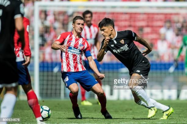 Carlos Joaquin Correa of Sevilla FC in action during the La Liga 201718 match between Atletico de Madrid and Sevilla FC at the Wanda Metropolitano on...