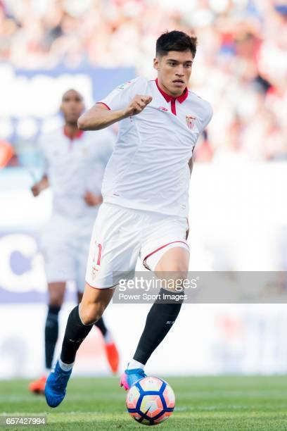 Carlos Joaquin Correa of Sevilla FC in action during their La Liga match between Atletico de Madrid and Sevilla FC at the Estadio Vicente Calderon on...