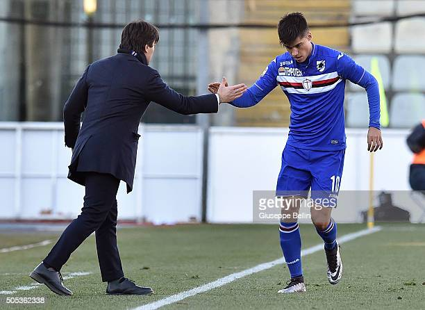 Carlos Joaquin Correa of UC Sampdoria celebrates with Vincenzo Montella head coach after scoring the goal 11 during the Serie A match between Carpi...