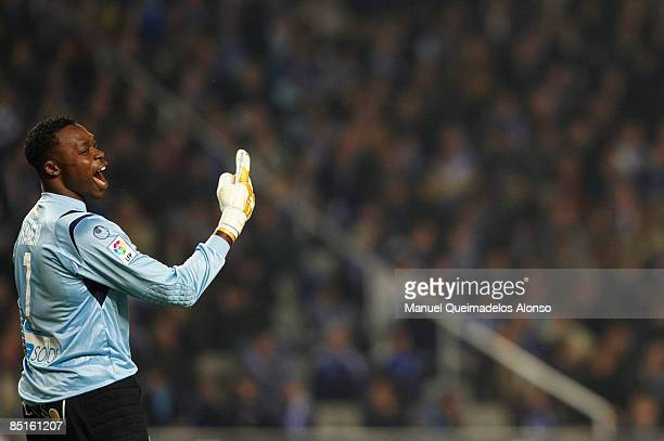 Carlos Kameni of Espanyol reacts during the La Liga match between Espanyol and Real Madrid at the Montjuic Olympic Stadium on February 28 2009 in...