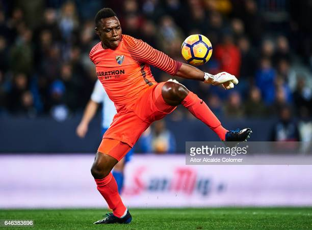 Carlos Kameni of Malaga CF in action during La Liga match between Malaga CF and Real Betis Balompie at La Rosaleda Stadium February 28 2017 in Malaga...