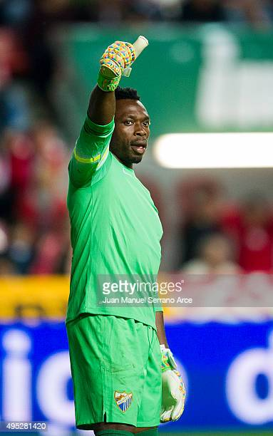 Carlos Kameni of Malaga CF reacts during the La Liga match between Real Sporting de Gijon and Malaga CF at Estadio El Molinon on November 1 2015 in...