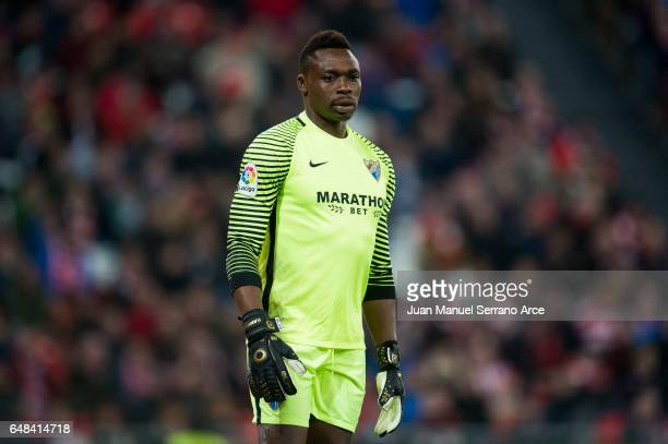 Carlos Kameni of Malaga CF reacts during the La Liga match between Athletic Club Bilbao and Malaga CF at San Mames Stadium on March 5 2017 in Bilbao...