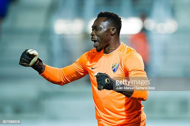 Carlos Kameni of Malaga CF reacts during the La Liga match between SD Eibar and Malaga CF at Ipurua Municipal Stadium on January 30 2016 in Eibar...