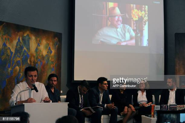 Carlos Lauria director of the Committee to Protect Journalists speaks during a tribute to slain Mexican Journalist Javier Valdez in Mexico City on...