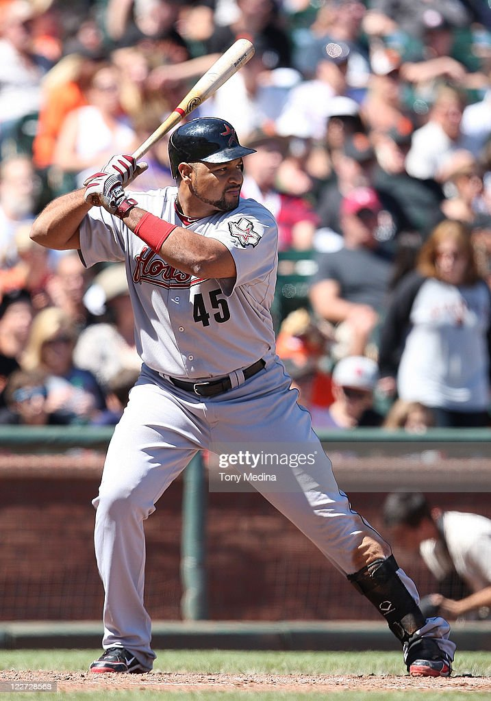 <a gi-track='captionPersonalityLinkClicked' href=/galleries/search?phrase=Carlos+Lee+-+Baseball+Player&family=editorial&specificpeople=203134 ng-click='$event.stopPropagation()'>Carlos Lee</a> #45 of the Houston Astros bats during a game between the Houston Astros and the San Francisco Giants at AT&T Park on August 28, 2011 in San Francisco, California.