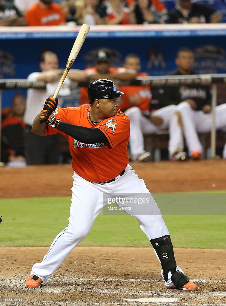 Carlos Lee #45 of the Miami Marlins bats against the New York Mets at Marlins Park on October 3, 2012 in Miami, Florida. The Mets defeated the Marlins 4-2.