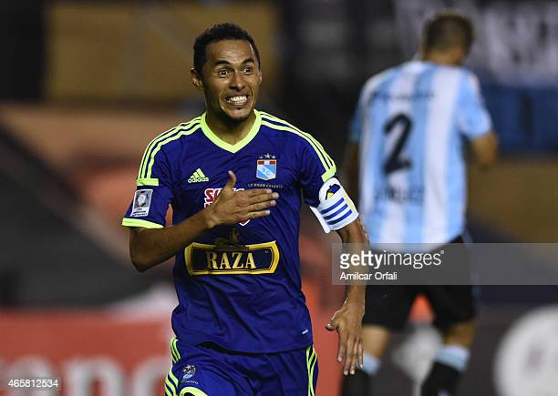 Carlos Lobatón of Sporting Cristal celebrates after scoring during a match between Racing Club and Sporting Cristal as part of Copa Bridgestone...