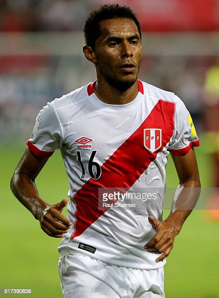Carlos Lobaton of Peru looks on during a match between Peru and Venezuela as part of FIFA 2018 World Cup Qualifiers at Nacional Stadium on March 24...