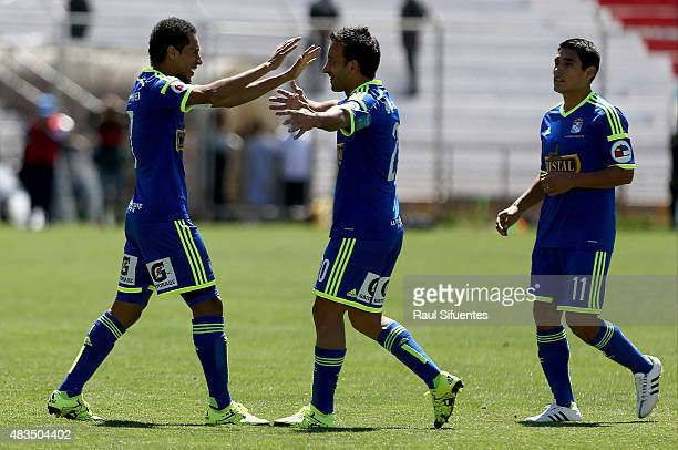 Carlos Lobaton of Sporting Cristal celebrates after scoring the third goal of his team against Real Garcilaso during a match between Real Garcilaso...