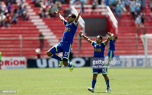 Carlos Lobaton of Sporting Cristal celebrates after scoring the third goal of his team during a match between Real Garcilaso and Sporting Cristal as...