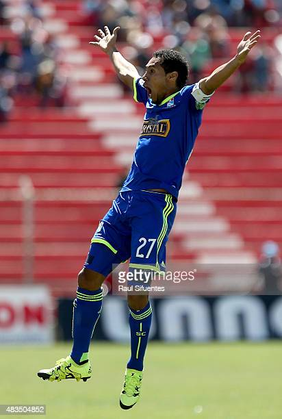 Carlos Lobaton of Sporting Cristal celebrates the after scoring the third goal of his team during a match between Real Garcilaso and Sporting Cristal...