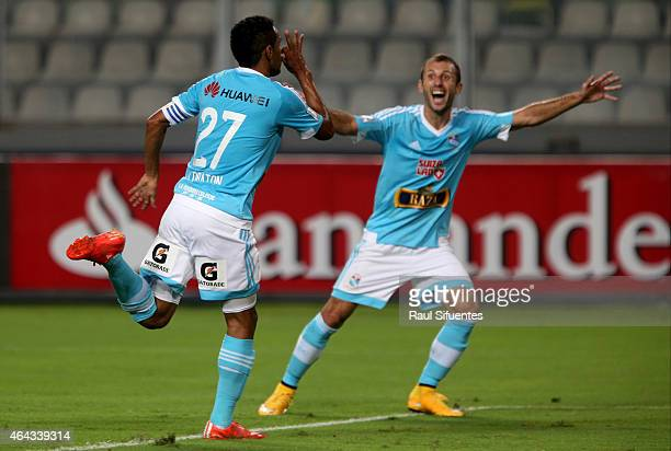Carlos Lobaton of Sporting Cristal celebrates the first goal of his team against Deportivo Tachira during a match between Sporting Cristal and...