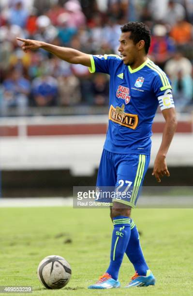 Carlos Lobaton of Sporting Cristal points during a match between Real Garcilaso and Sporting Cristal as part of the Copa Inca at Municipal de Urcos...