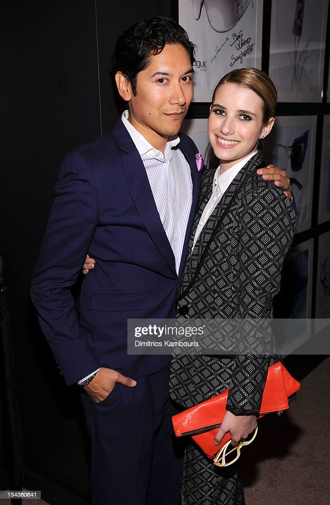 Carlos Lopez (L) and actress <a gi-track='captionPersonalityLinkClicked' href=/galleries/search?phrase=Emma+Roberts&family=editorial&specificpeople=226535 ng-click='$event.stopPropagation()'>Emma Roberts</a> attend the Vogue Eyewear and CFDA unveiling of the 'Emma' sunglass with Nanette Lepore and <a gi-track='captionPersonalityLinkClicked' href=/galleries/search?phrase=Emma+Roberts&family=editorial&specificpeople=226535 ng-click='$event.stopPropagation()'>Emma Roberts</a> at Sunglass Hut on October 18, 2012 in New York City.