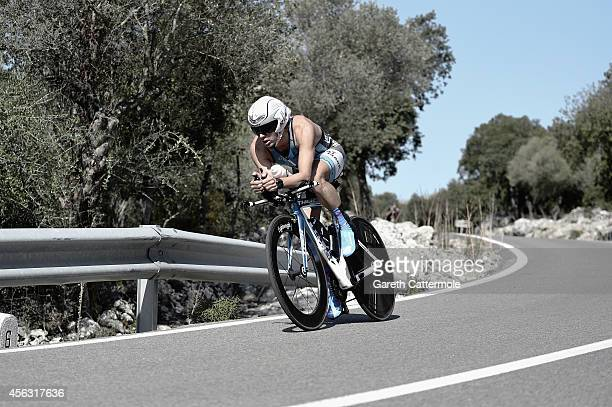 Carlos López Díaz of Spain in action during the bike leg of Ironman Mallorca on September 27 2014 in Palma de Mallorca Spain
