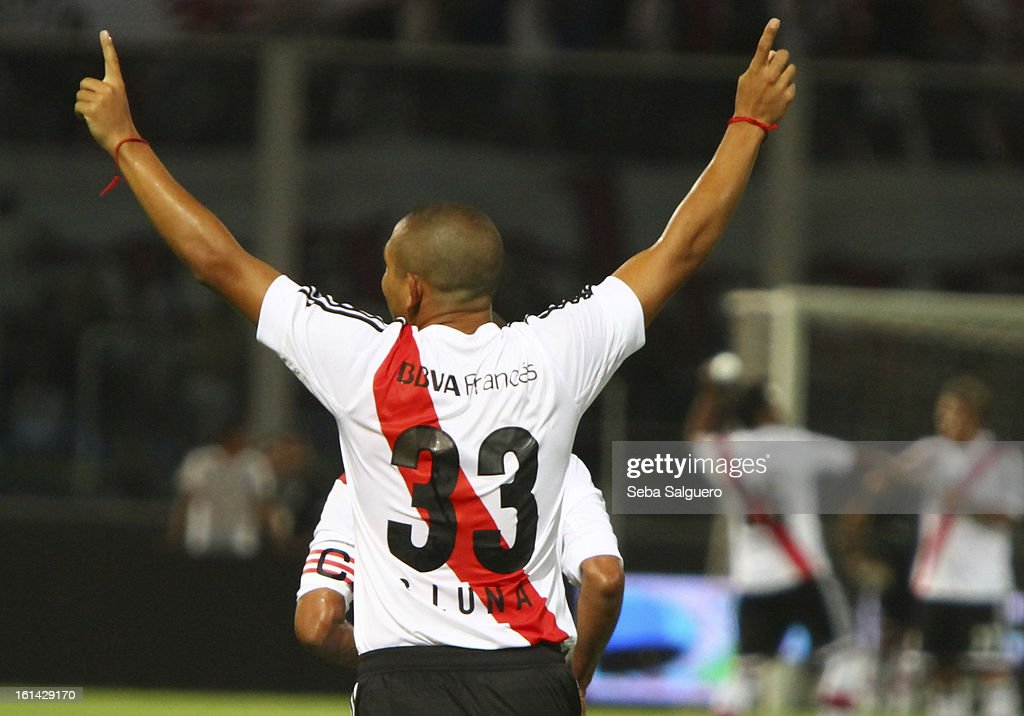 Carlos Luna celebrates the goal scored during the match between Belgrano and River for the Torneo Final 2013 on February 10, 2013 in Cordoba, Argentina.