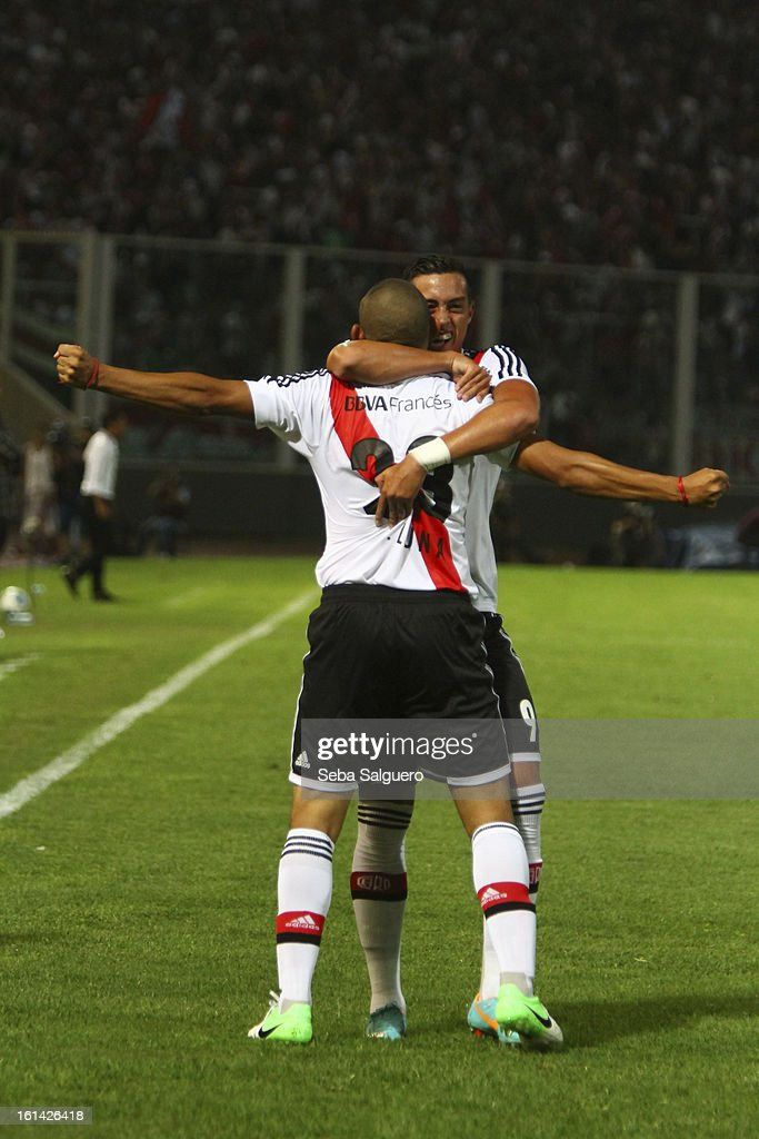 Carlos Luna of River celebrates a goal during the match against Belgrano for the Torneo Final 2013 on February 10, 2013 in Cordoba, Argentina.