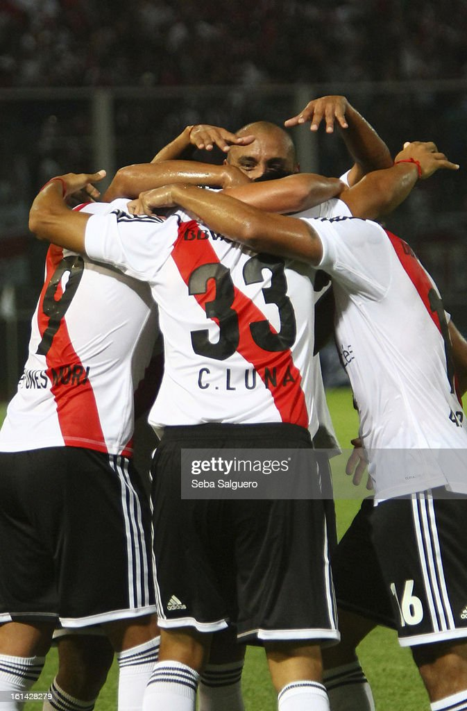 Carlos Luna of River celebrates with his teammates the goal scored during the match between Belgrano and River for the Torneo Final 2013 on February 10, 2013 in Cordoba, Argentina.