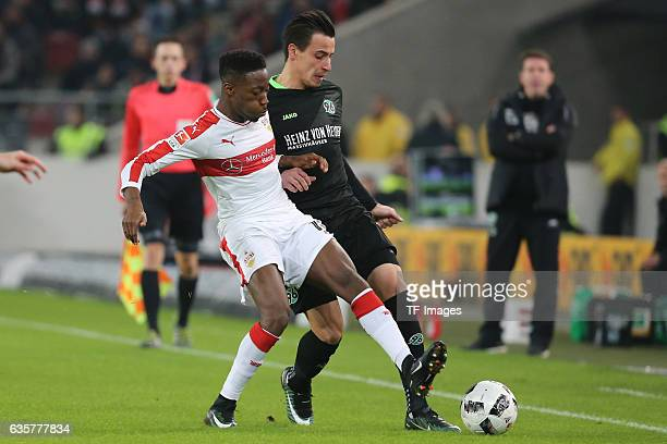 Carlos Mane of Stuttgart and Edgar Prib of Hannover 96 battle for the ball during the Second Bundesliga match between VfB Stuttgart and Hannover 96...