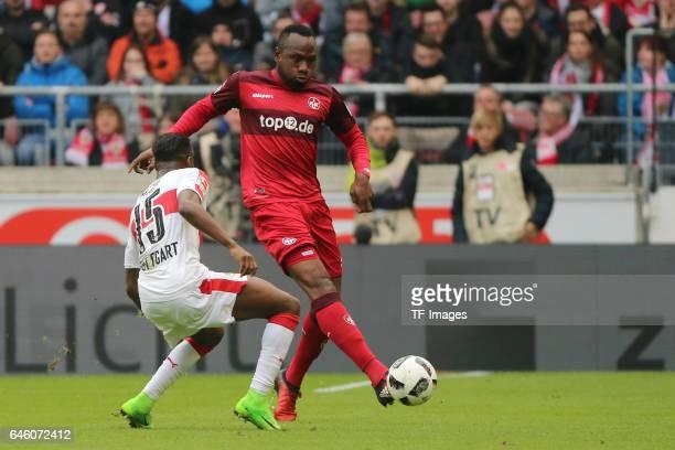 Carlos Mane of Stuttgart Jacques Zoua of Kaiserslautern battle for the ball during the Second Bundesliga match between VfB Stuttgart and 1 FC...
