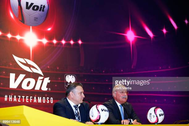 Carlos Manrique General Director of Voit Mexico and Enrique Bonilla President of the Liga MX speak during the presentation of the Official Ball for...