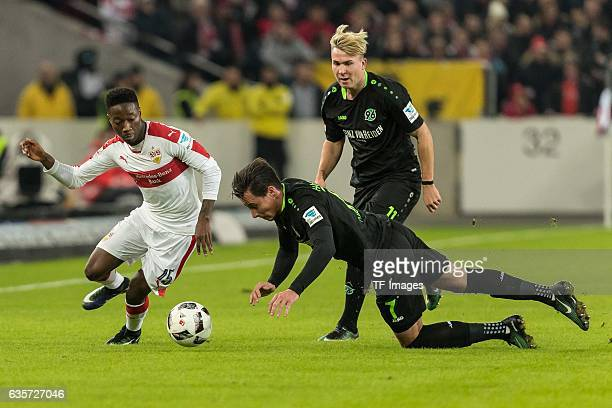 Carlos Manuel Cardoso Mane of Stuttgart and Edgar Prib of Hannover battle for the ball during the Second Bundesliga match between VfB Stuttgart and...