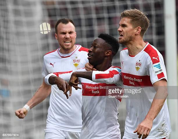 Carlos Manuel Cardoso Mane of Stuttgart celebrates scoring the goal during the Second Bundesliga match between FC St Pauli and VfB Stuttgart at...