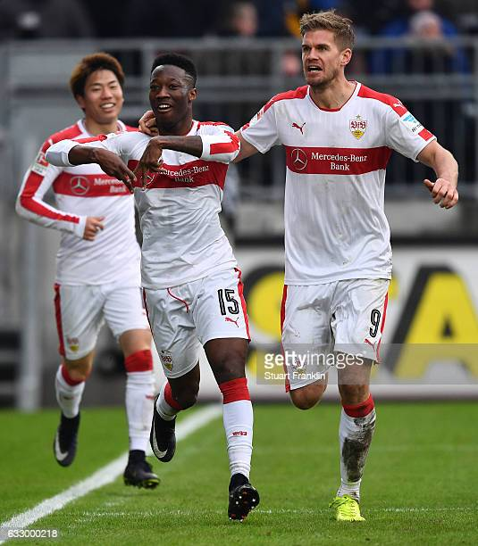 Carlos Manuel Cardoso Mane of Stuttgart celebrates scoring the goal with Simon Terodde during the Second Bundesliga match between FC St Pauli and VfB...