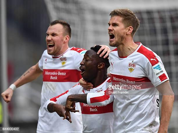 Carlos Manuel Cardoso Mane of Stuttgart celebrates scoring the goal with Kevin Gro§kreutz and Simon Terodde during the Second Bundesliga match...