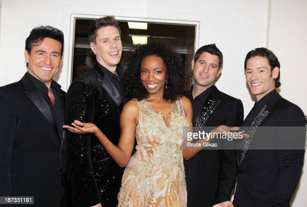 Carlos Marin David Miller Heather Headley Sébastien Izambard and Urs Buhler pose backstage at 'Il Divo A Musical Affair The Greatest Songs of...