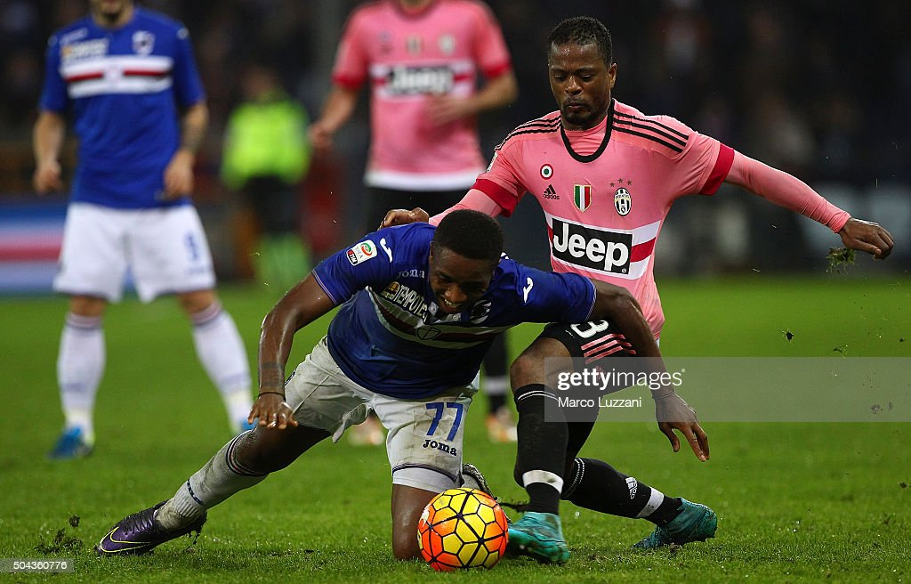 Carlos Mario Carbonero of UC Sampdoria is challenged by Patrice Evra of Juventus FC during the Serie A match between UC Sampdoria and Juventus FC at Stadio Luigi Ferraris on January 10, 2016 in Genoa, Italy.