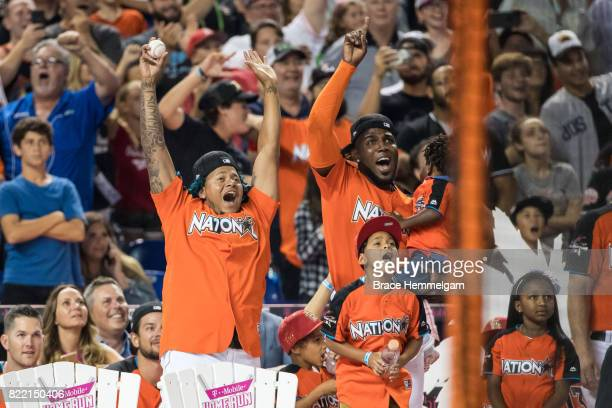 Carlos Martinez of the St Louis Cardinals and Marcell Ozuna of the Miami Marlins during the TMobile Home Run Derby at Marlins Park on July 10 2017 in...