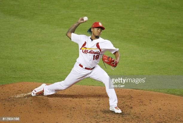 Carlos Martinez of the St Louis Cardinals and the National League delivers the pitch during the 88th MLB AllStar Game at Marlins Park on July 11 2017...