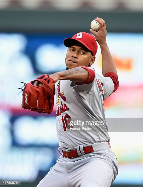 Carlos Martinez of the St Louis Cardinals delivers a pitch against the Minnesota Twins during the first inning of the game on June 17 2015 at Target...