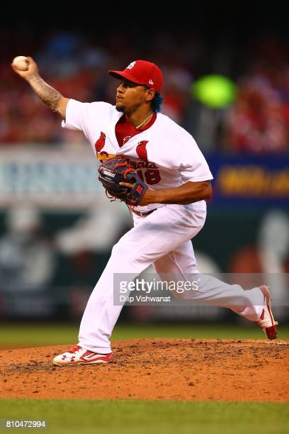 Carlos Martinez of the St Louis Cardinals delivers a pitch against the New York Mets in the fourth inning at Busch Stadium on July 7 2017 in St Louis...