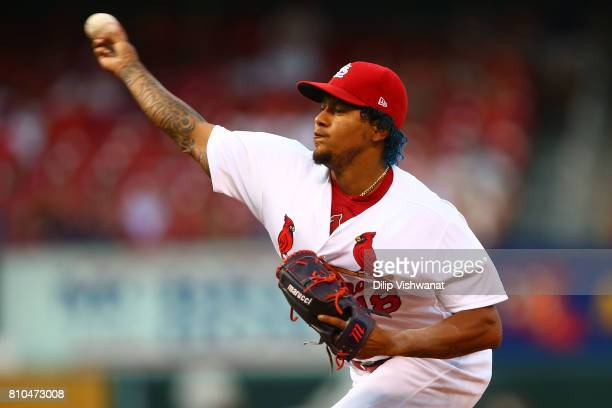 Carlos Martinez of the St Louis Cardinals delivers a pitch against the New York Mets in the first inning at Busch Stadium on July 7 2017 in St Louis...