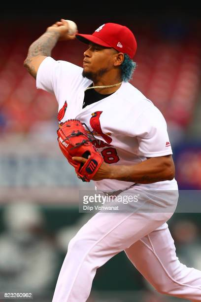 Carlos Martinez of the St Louis Cardinals delivers a pitch against the Colorado Rockies in the first inning at Busch Stadium on July 26 2017 in St...