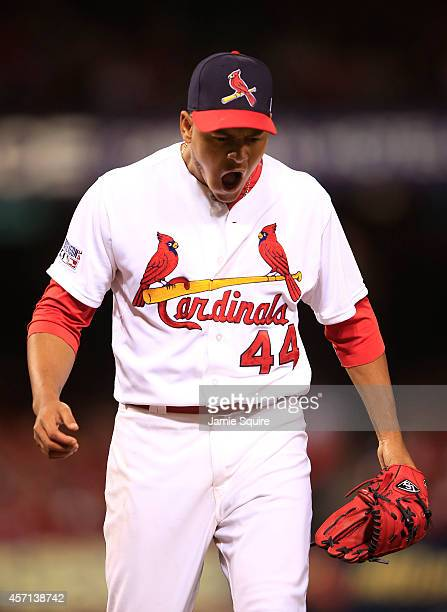 Carlos Martinez of the St Louis Cardinals during Game Two of the National League Championship Series against the San Francisco Giants at Busch...