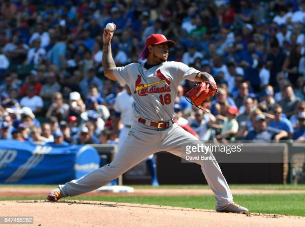 Carlos Martinez of the St Louis Cardinals pitches against the Chicago Cubs during the first inning on September 15 2017 at Wrigley Field in Chicago...