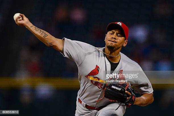 Carlos Martinez of the St Louis Cardinals pitches against the Colorado Rockies in the first inning of a game at Coors Field on September 19 2016 in...