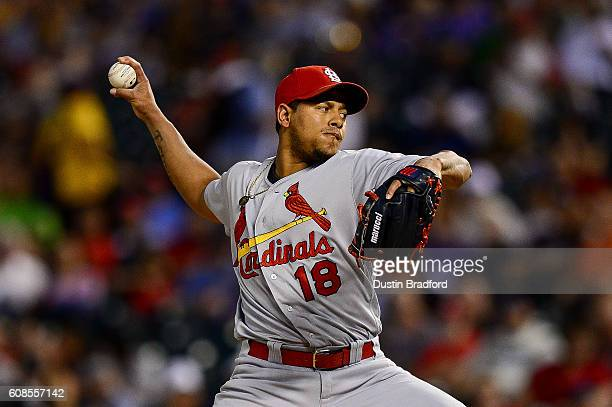 Carlos Martinez of the St Louis Cardinals pitches against the Colorado Rockies in the second inning of a game at Coors Field on September 19 2016 in...