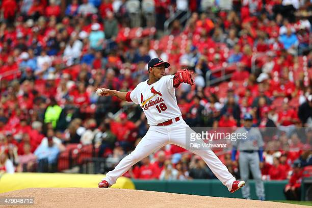 Carlos Martinez of the St Louis Cardinals pitches against the Los Angeles Dodgers at Busch Stadium on May 31 2015 in St Louis Missouri