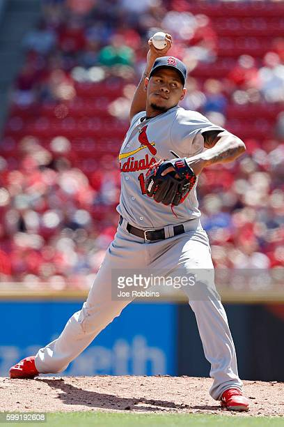 Carlos Martinez of the St Louis Cardinals pitches against the Cincinnati Reds in the second inning at Great American Ball Park on September 4 2016 in...