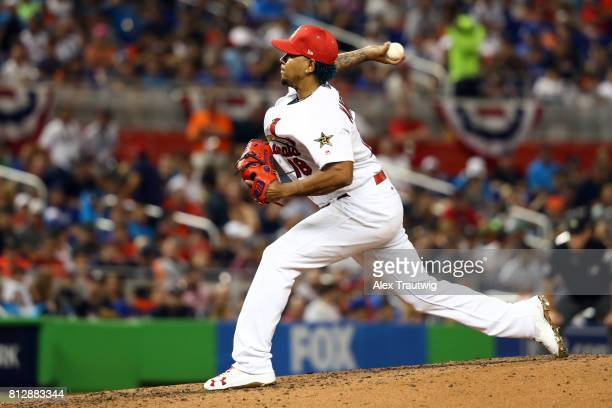 Carlos Martinez of the St Louis Cardinals pitches during the 88th MLB AllStar Game at Marlins Park on Tuesday July 11 2017 in Miami Florida