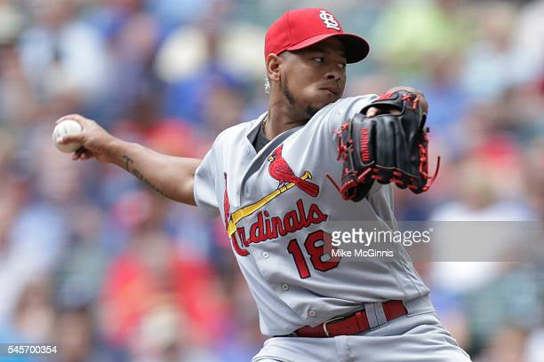 Carlos Martinez of the St Louis Cardinals pitches during the first inning against the Milwaukee Brewers at Miller Park on July 09 2016 in Milwaukee...