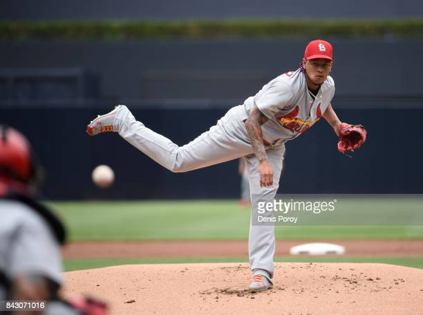 Carlos Martinez of the St Louis Cardinals pitches during the first inning of a baseball game against the San Diego Padres at PETCO Park on September...