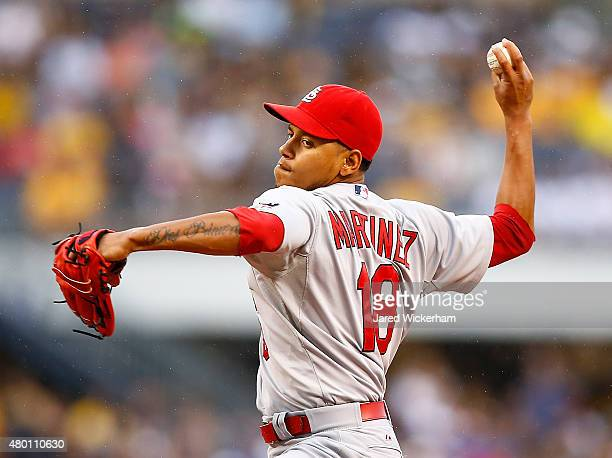 Carlos Martinez of the St Louis Cardinals pitches in the first inning against the Pittsburgh Pirates during the game at PNC Park on July 9 2015 in...