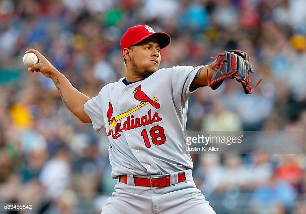 Carlos Martinez of the St Louis Cardinals pitches in the first inning during the game against the Pittsburgh Pirates at PNC Park on June 11 2015 in...